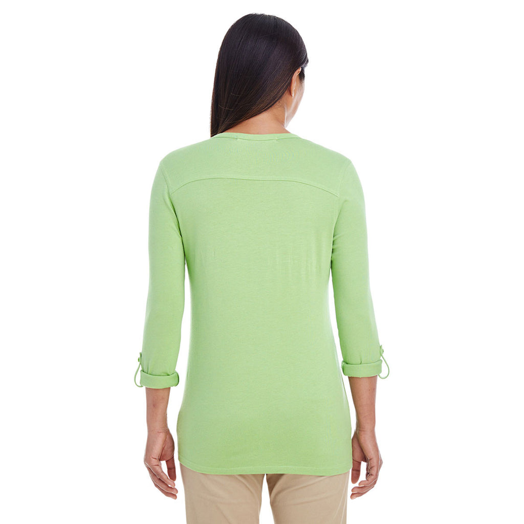 Devon & Jones Women's Lime Perfect Fit Y-Placket Convertible Sleeve Knit Top