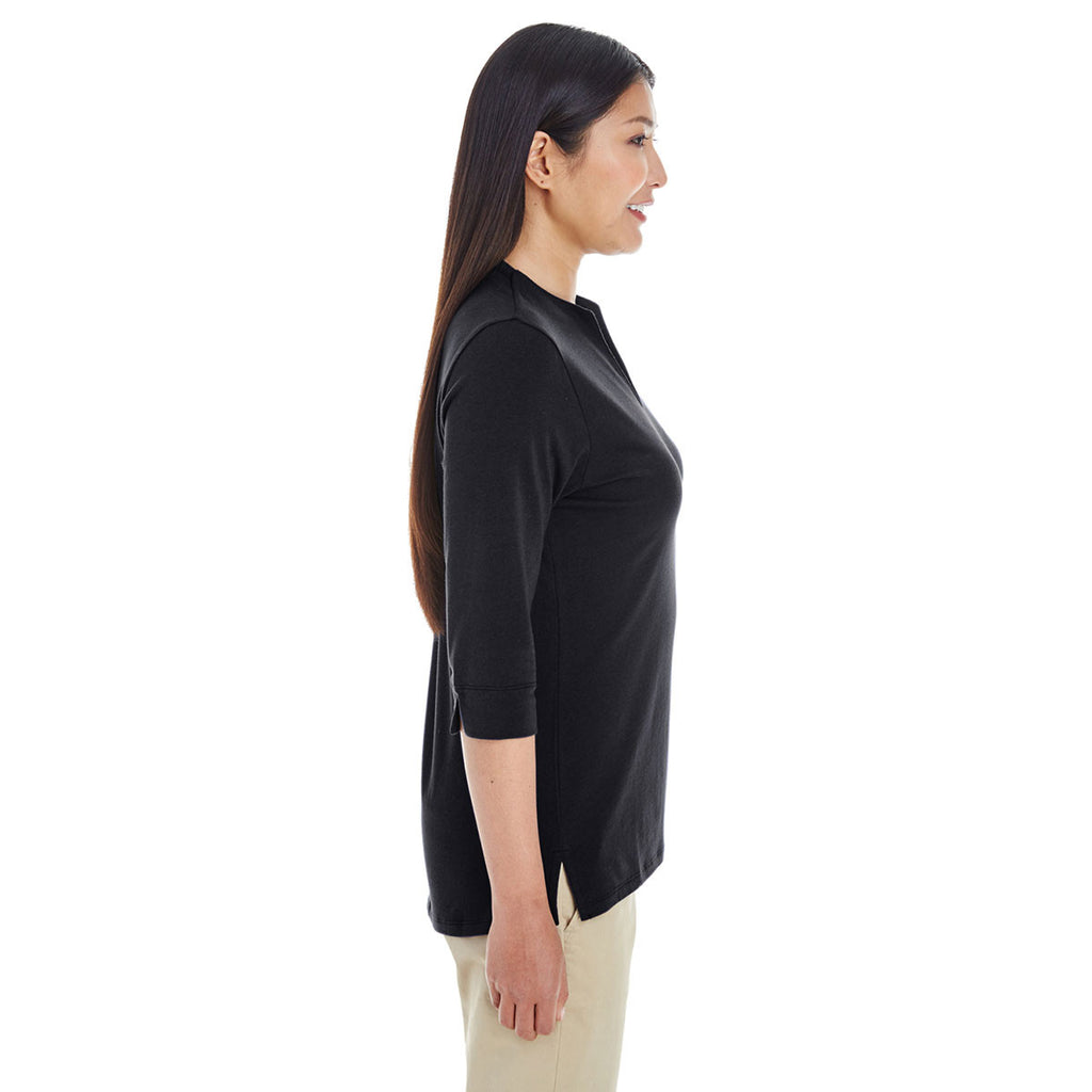 Devon & Jones Women's Black Perfect Fit Tailored Open Neckline Top