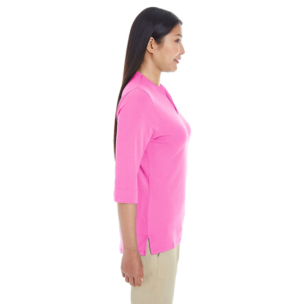 Devon & Jones Women's Charity Pink Perfect Fit Tailored Open Neckline Top