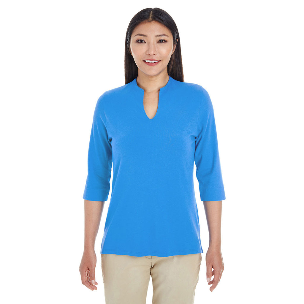 Devon & Jones Women's French Blue Perfect Fit Tailored Open Neckline Top