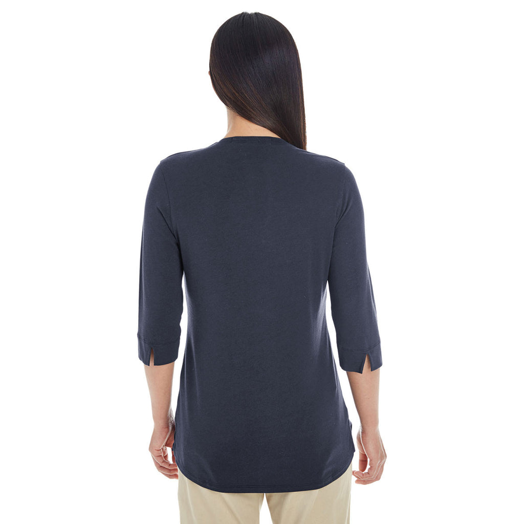 Devon & Jones Women's Navy Perfect Fit Tailored Open Neckline Top
