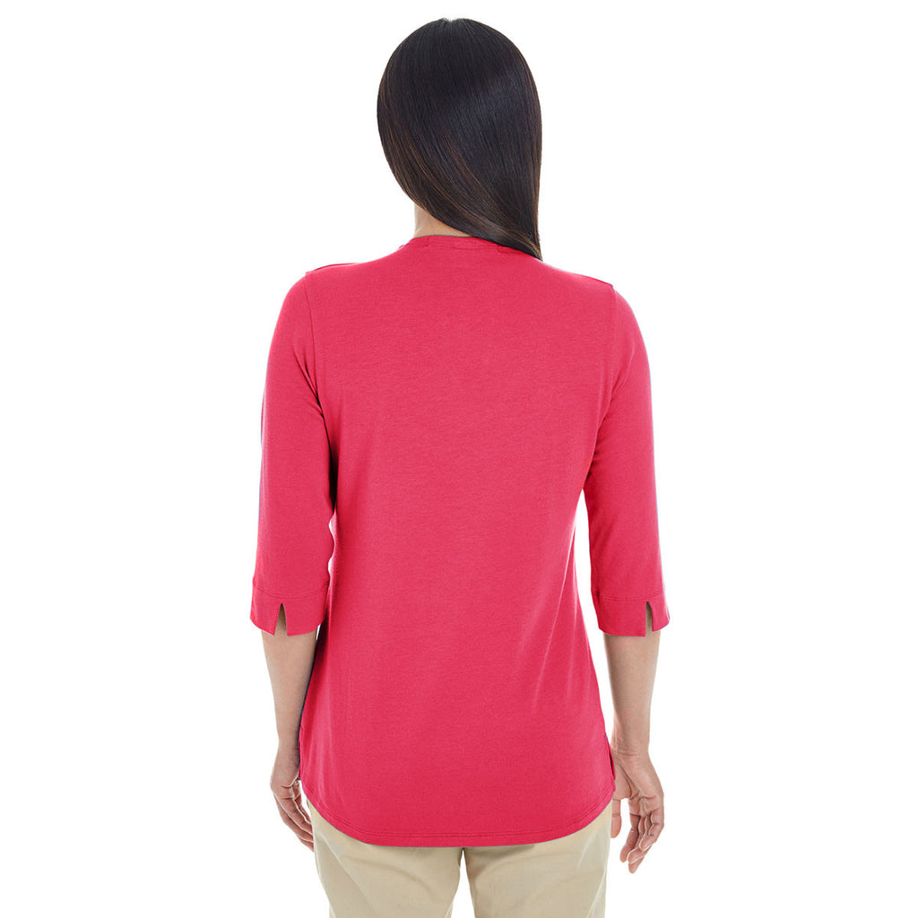 Devon & Jones Women's Red Perfect Fit Tailored Open Neckline Top