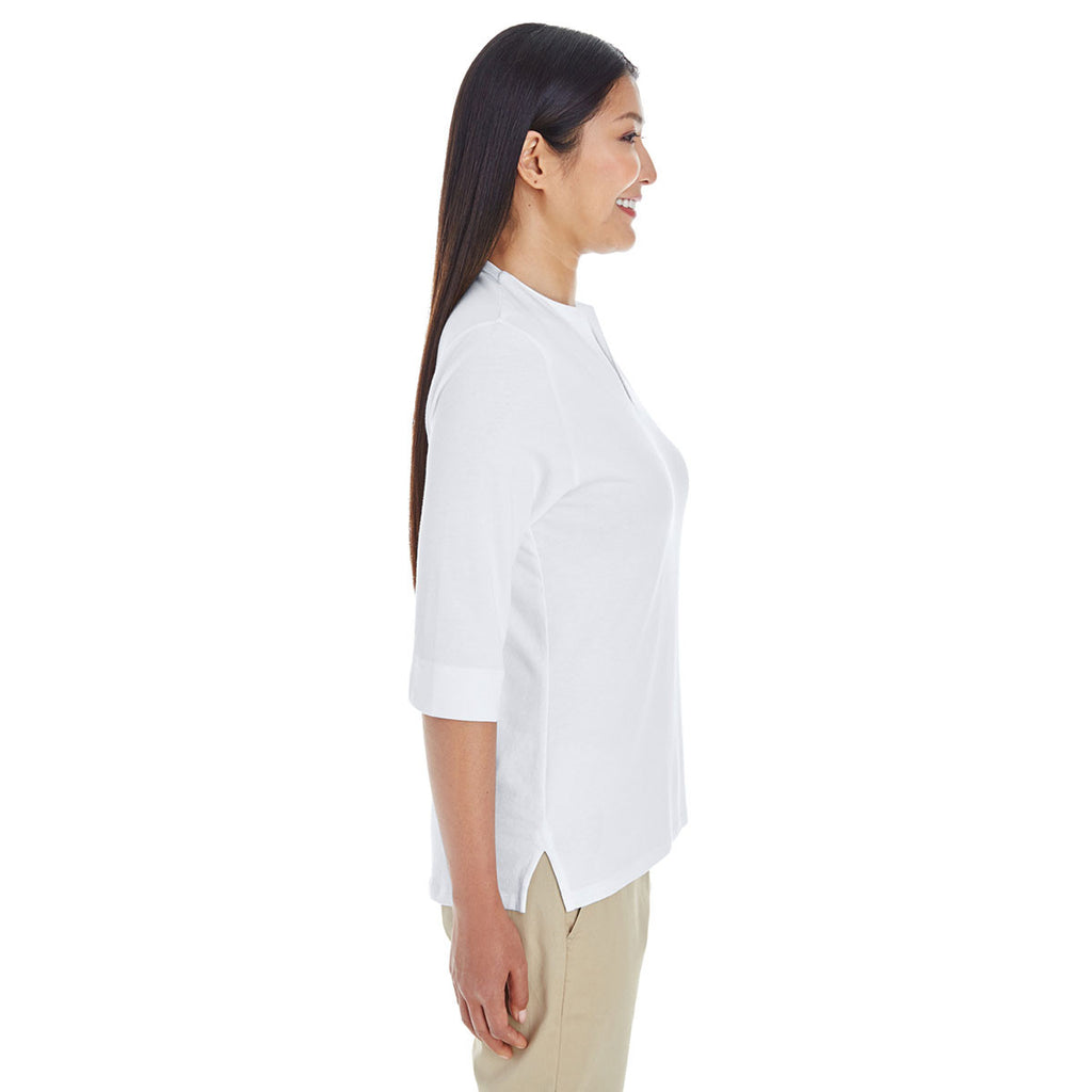 Devon & Jones Women's White Perfect Fit Tailored Open Neckline Top
