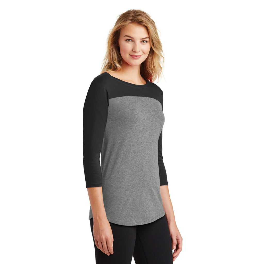 District Women's Black/Grey Frost Rally 3/4-Sleeve Tee