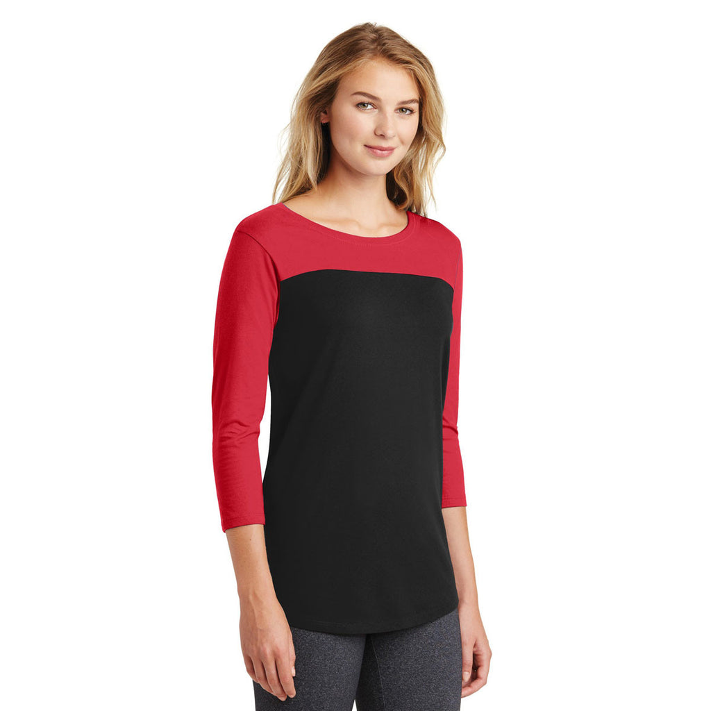 District Women's New Red/Black Rally 3/4-Sleeve Tee
