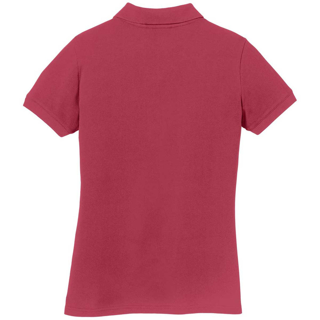 Eddie Bauer Women's Red Rhubarb Cotton Pique Polo