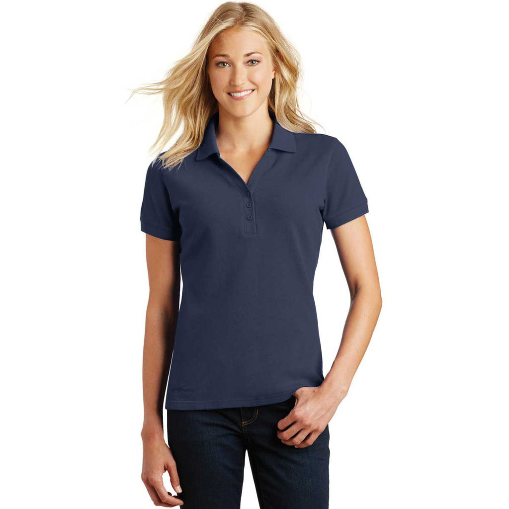 SoftPro - Eddie Bauer Women's River Blue Cotton Pique Polo