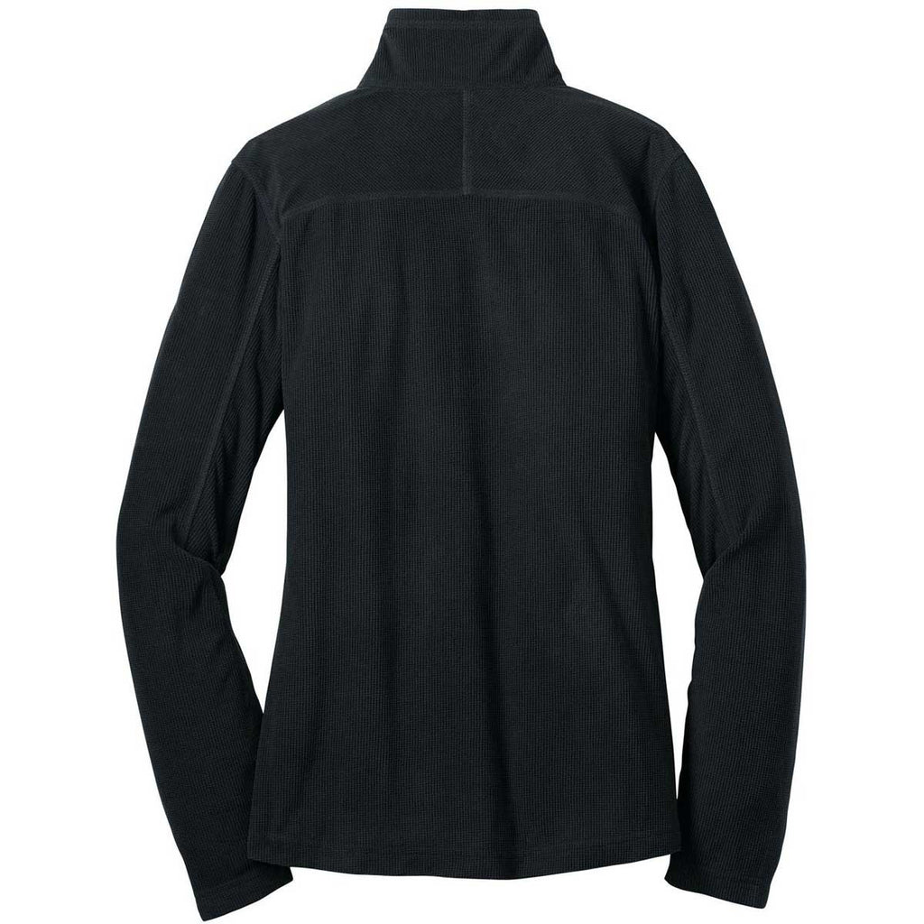 Eddie Bauer Women's Black Quarter-Zip Grid Fleece Pullover