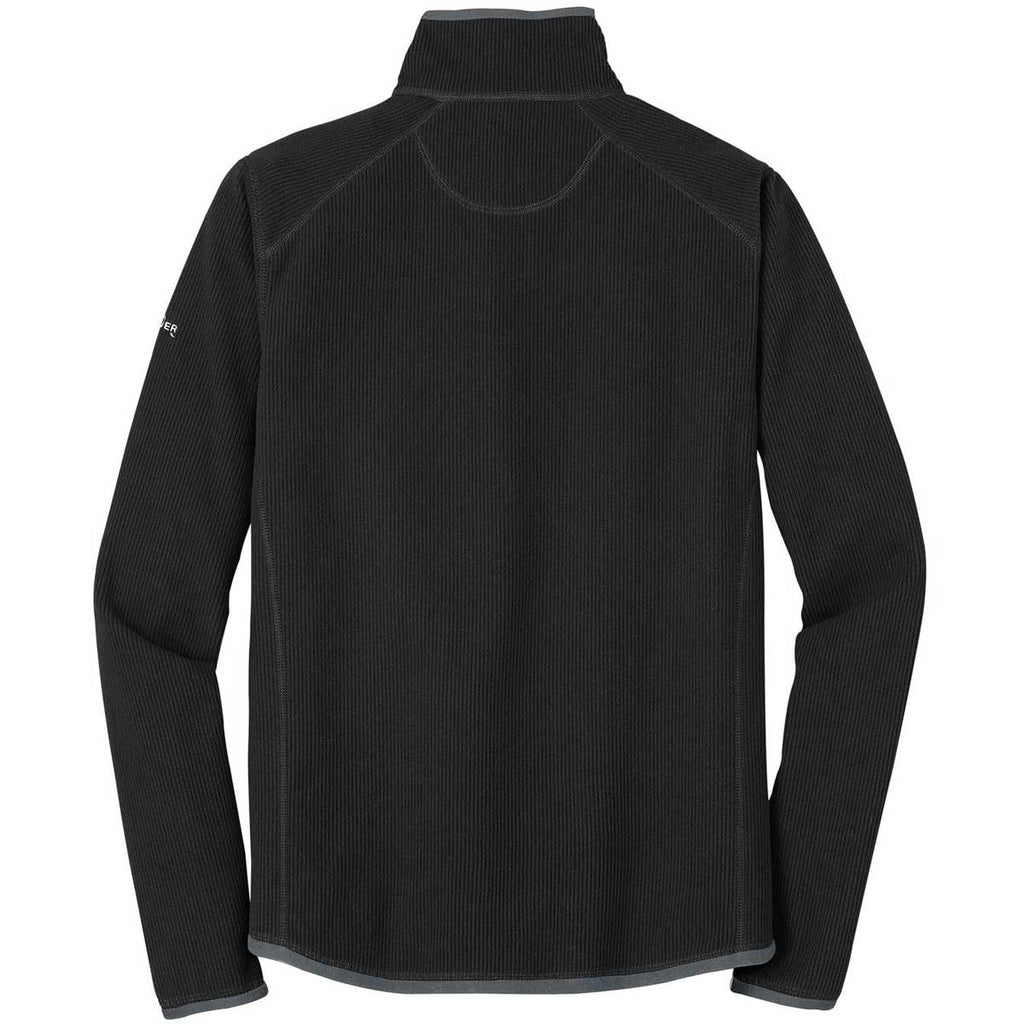 Eddie Bauer Men's Black Full-Zip Vertical Fleece Jacket