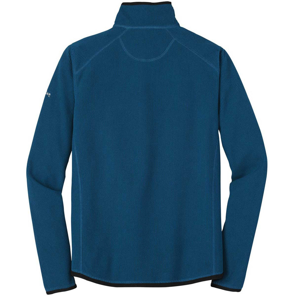 Eddie Bauer Men's Deep Sea Blue Full-Zip Vertical Fleece Jacket
