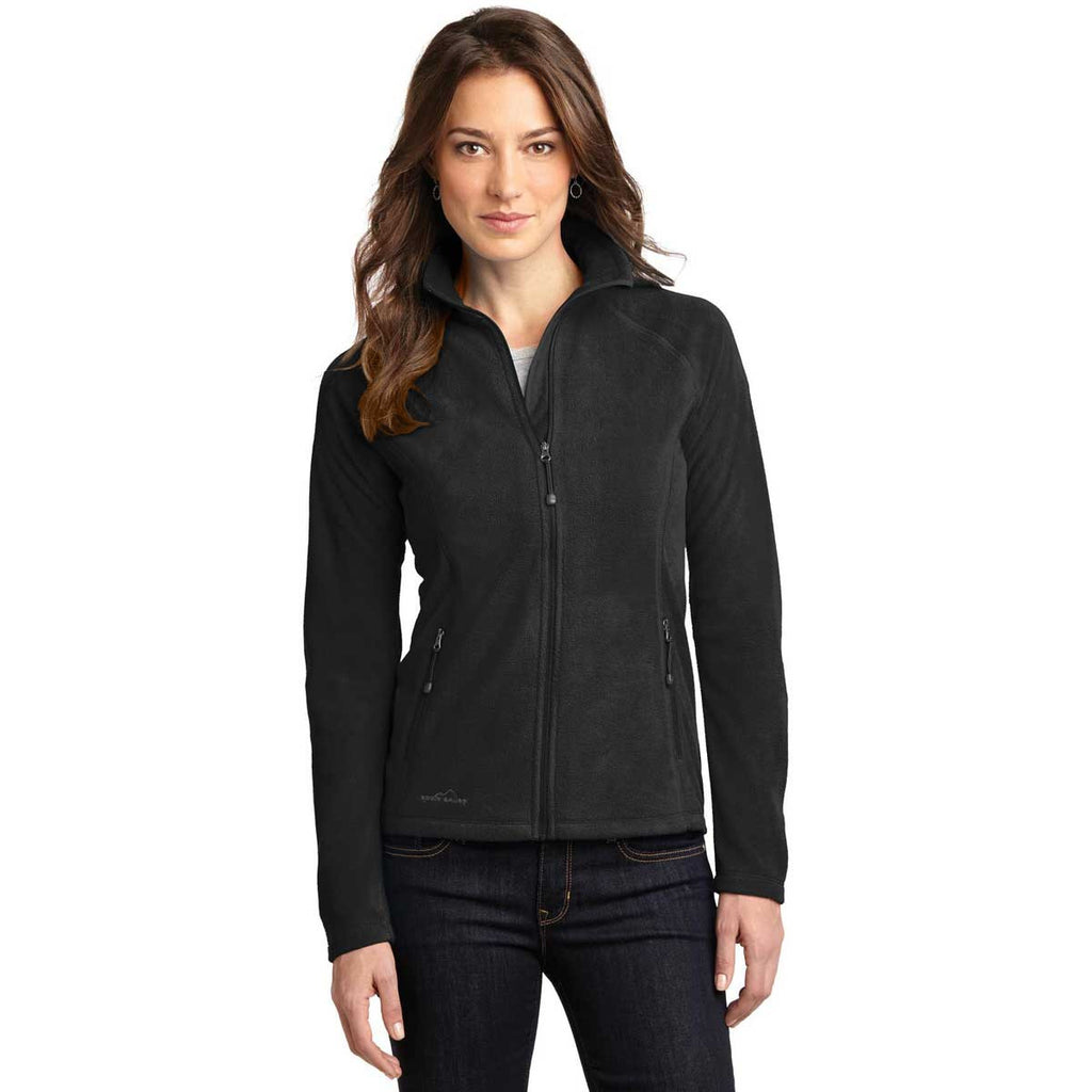 SoftPro - Eddie Bauer Women's Black Full-Zip Microfleece Jacket