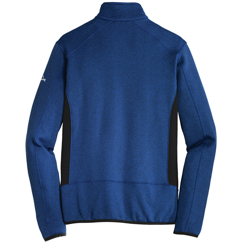 Eddie Bauer Men's Blue Heather Full-Zip Heather Stretch Fleece Jacket