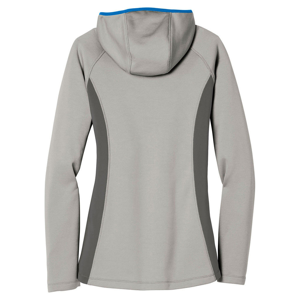 Eddie Bauer Women's Grey Cloud/Grey Steel/Expedition Blue Sport Hooded Full-Zip Fleece Jacket