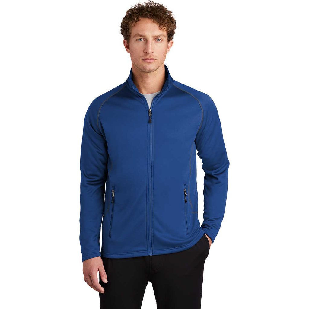 Eddie Bauer Men's Cobalt Blue Smooth Fleece Base Layer Full-Zip