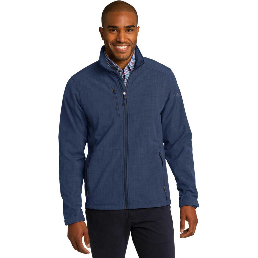 NEPC - Eddie Bauer Men's Blue Shaded Crosshatch Softshell Jacket