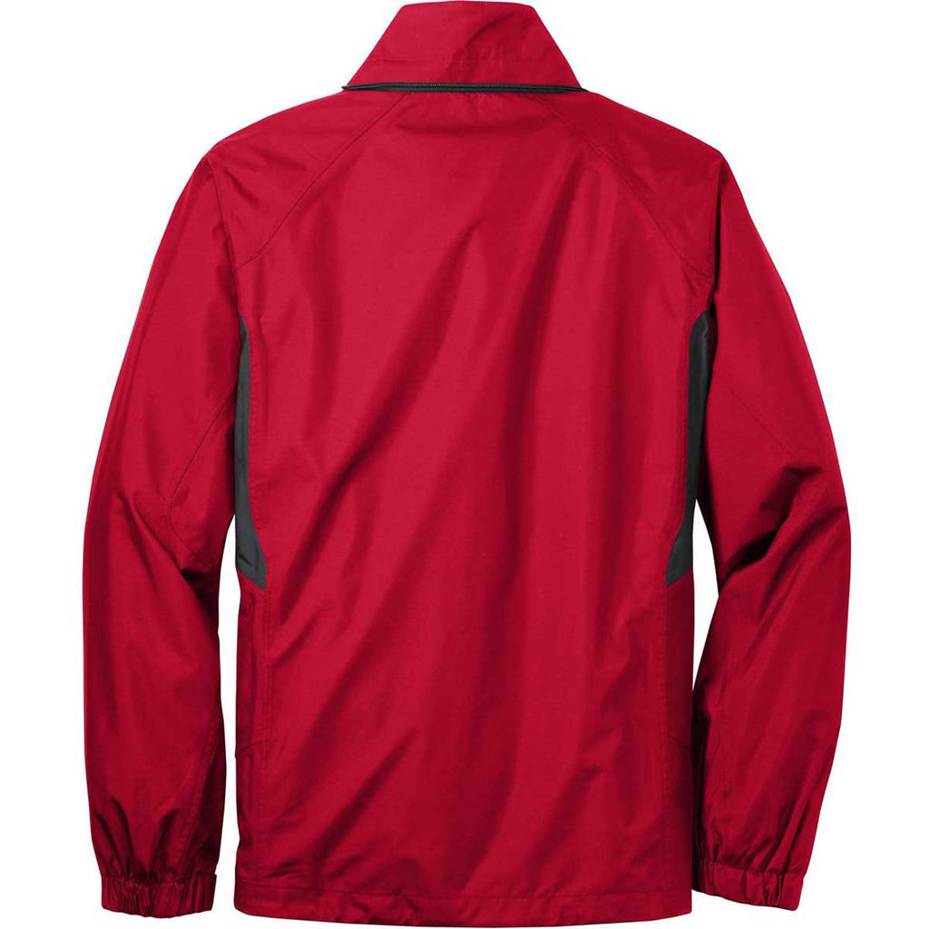 Eddie Bauer Men's Radish Red/Grey Steel Rain Jacket