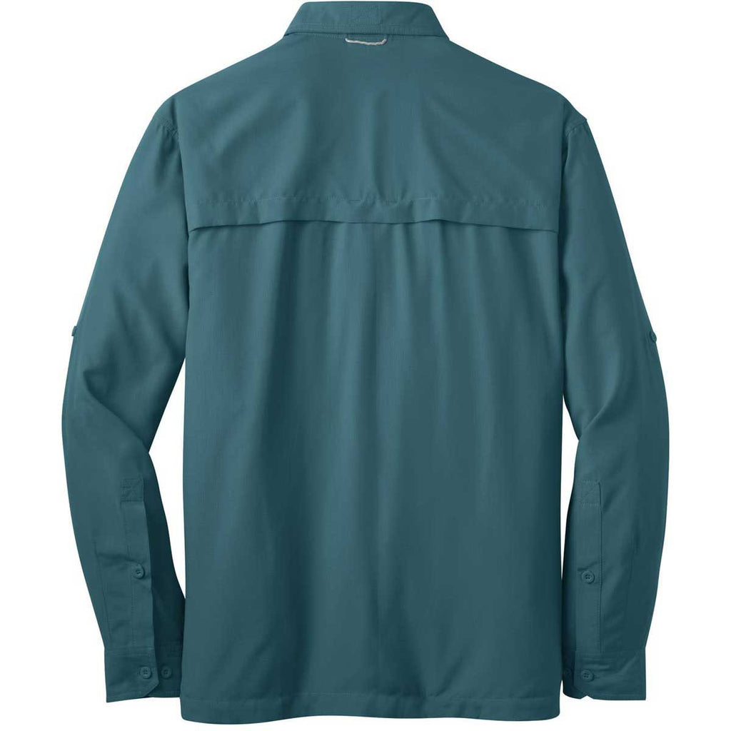 Eddie Bauer Men's Gulf Teal L/S Performance Fishing Shirt
