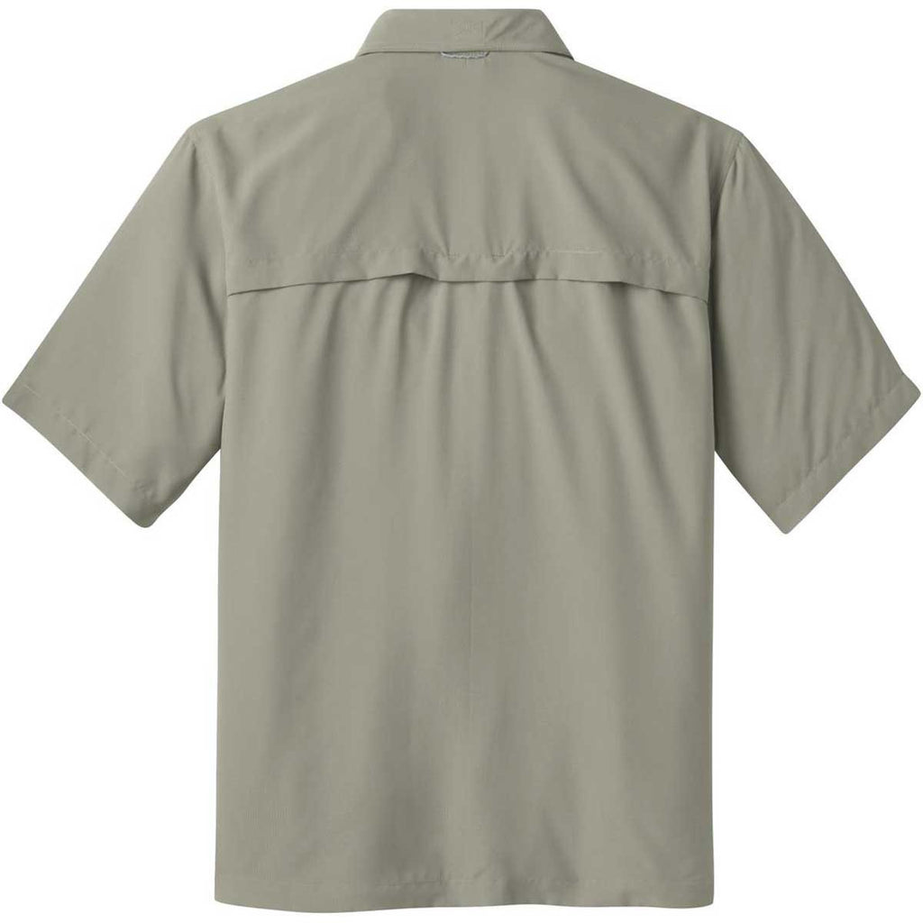 Eddie Bauer Men's Driftwood Beige S/S Performance Fishing Shirt