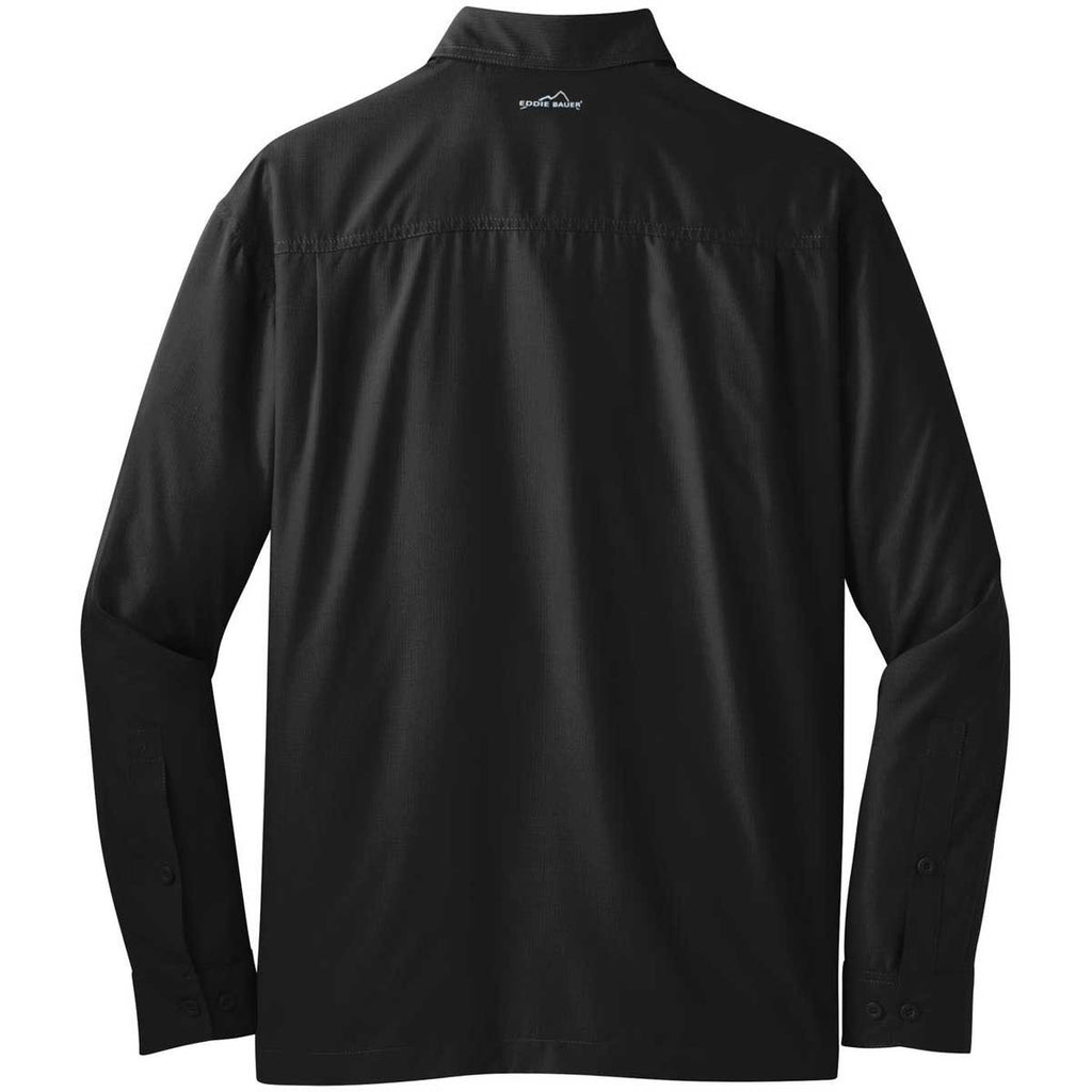 Eddie Bauer Men's Black L/S Performance Travel Shirt