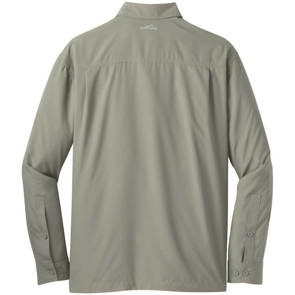 Eddie Bauer Men's Driftwood Beige L/S Performance Travel Shirt