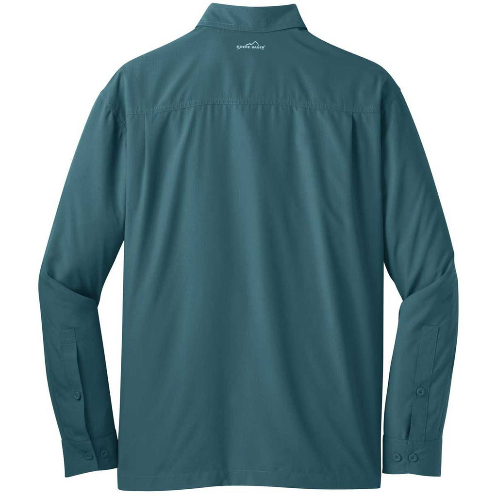 Eddie Bauer Men's Gulf Teal L/S Performance Travel Shirt