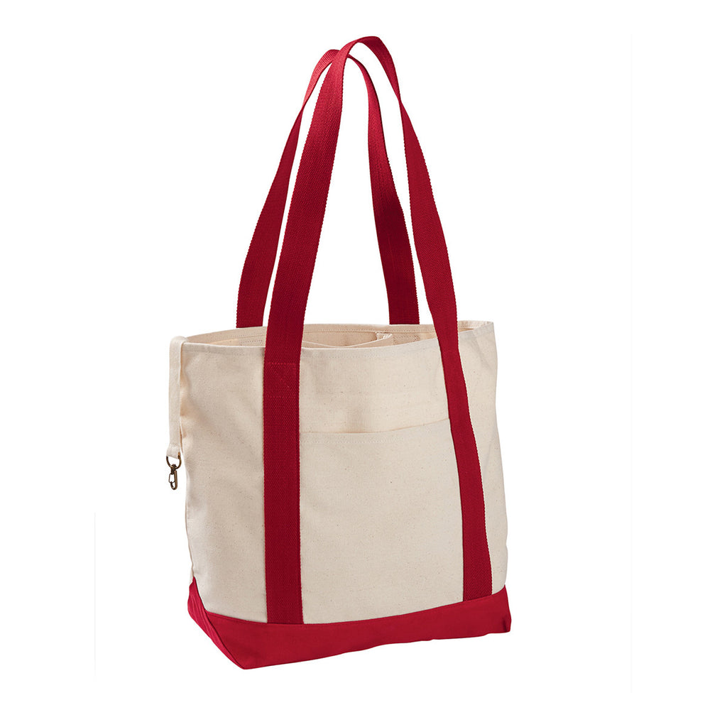 4cee07935d Econscious Natural Red 12 oz Organic Cotton Canvas Boat Tote Bag