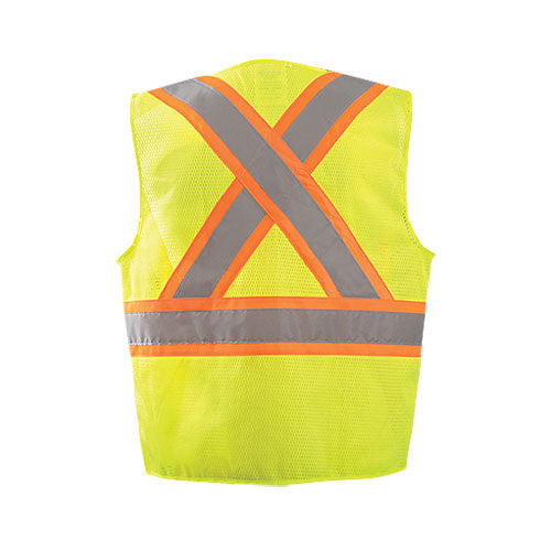 OccuNomix Men's Yellow High Visibility Two-Tone Surveyor X Back Mesh Vest