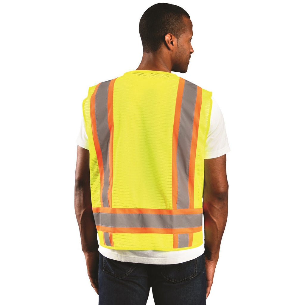 OccuNomix Men's Yellow High Visibility Two-Tone Surveyor Mesh Vest