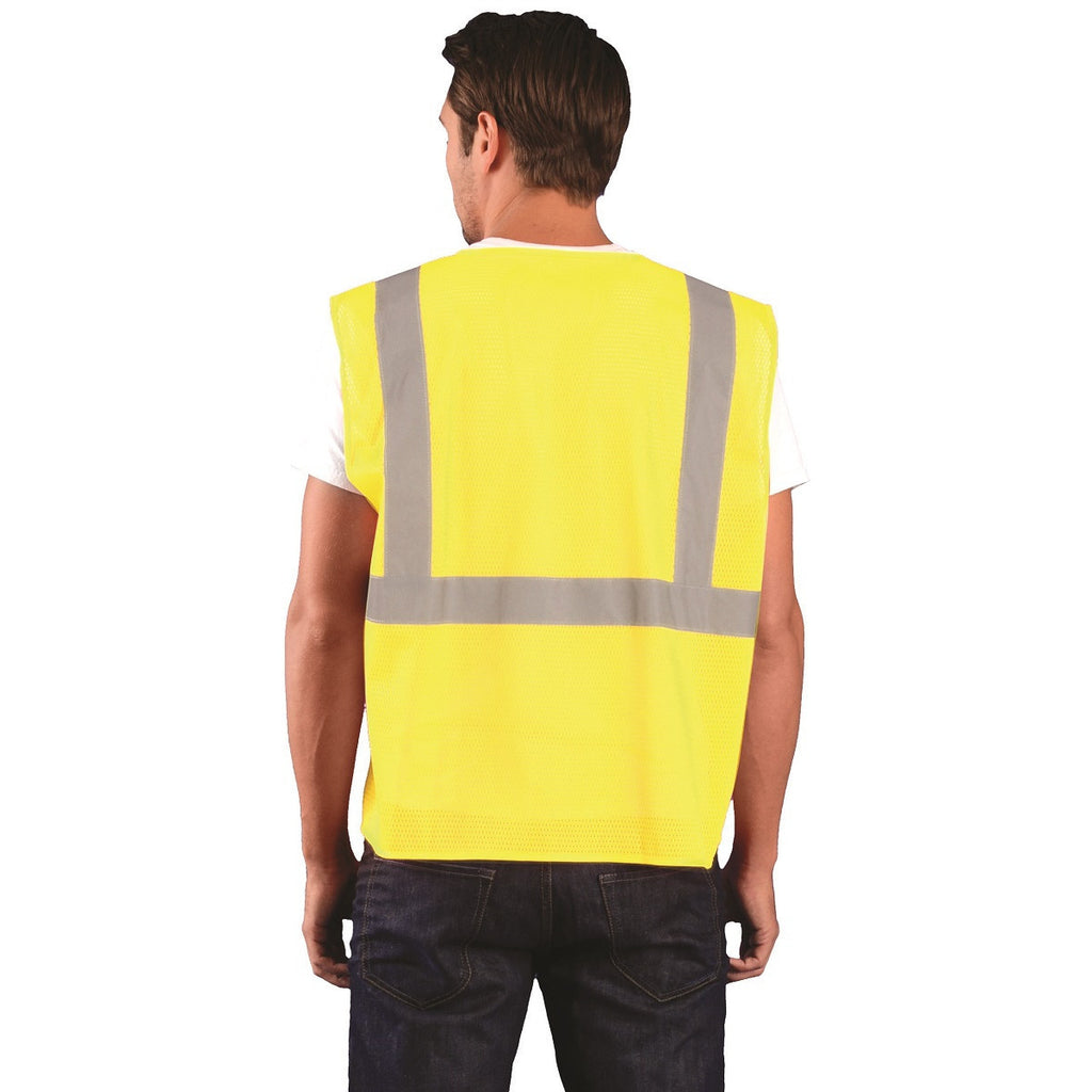 OccuNomix Men's Yellow High Visibility Value Mesh Standard Zipper Safety Vest