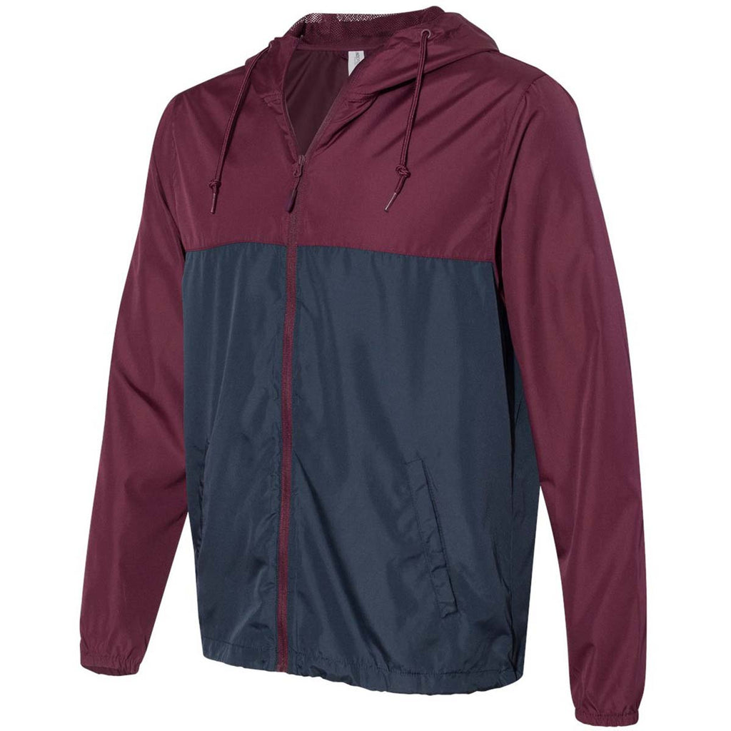 Independent Trading Co. Unisex Maroon/Classic Navy Light Weight Windbreaker Zip Jacket