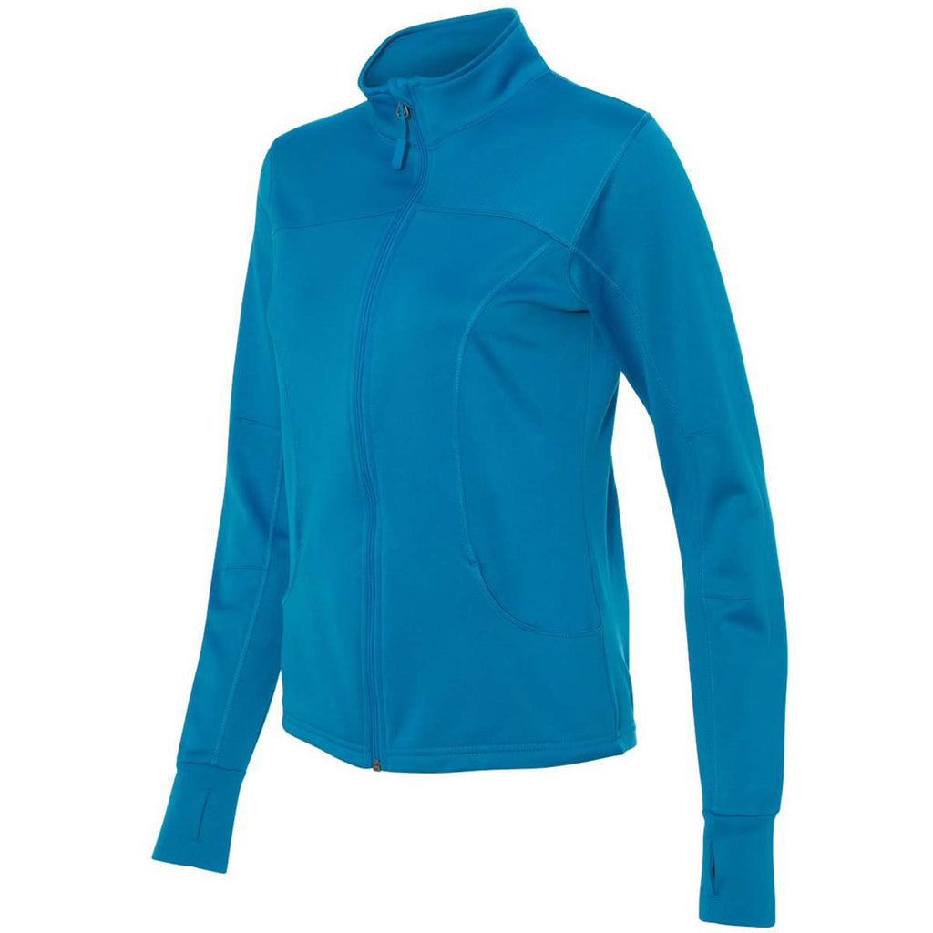 Independent Trading Co. Women's Aster Blue Poly-Tech Full-Zip Track Jacket