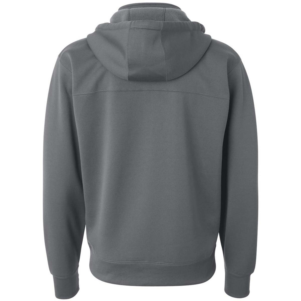 Independent Trading Co. Men's Charcoal Poly-Tech Hooded Full-Zip Sweatshirt