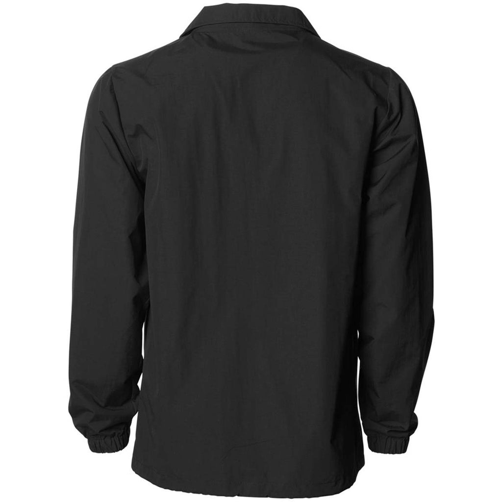 Independent Trading Co. Men's Black/Black Water Resistant Windbreaker Coaches Jacket
