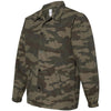 Independent Trading Co. Men's Forest Camo Water Resistant Windbreaker Coaches Jacket