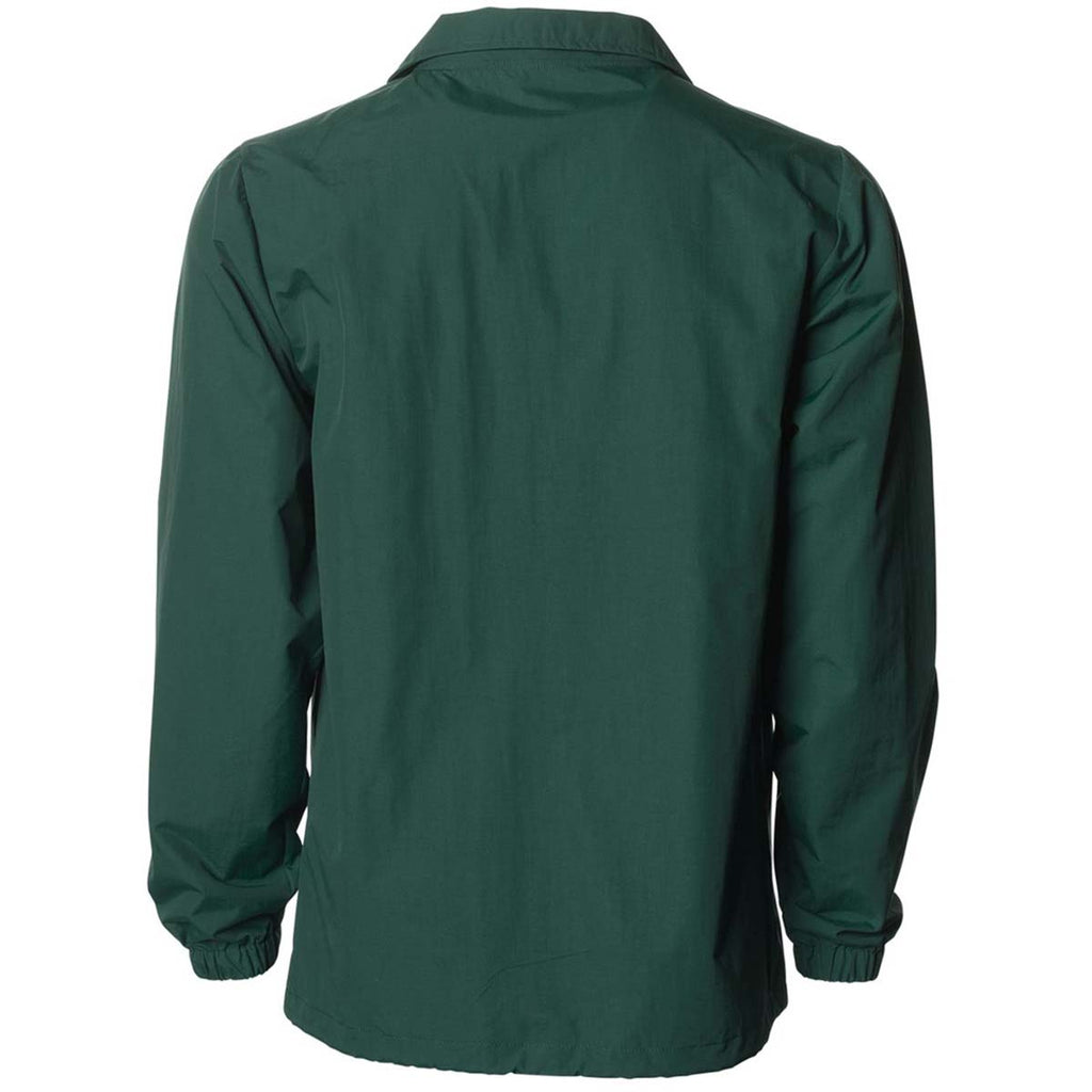 5c786e5eb Independent Trading Co. Men's Forest Green Water Resistant Windbreaker  Coaches Jacket