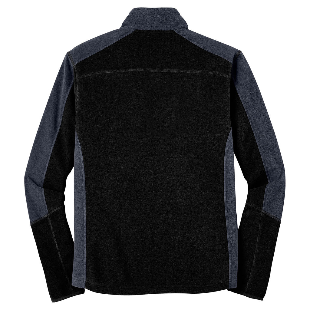 Port Authority Men's Black/ Battleship Grey Colorblock Microfleece Jacket