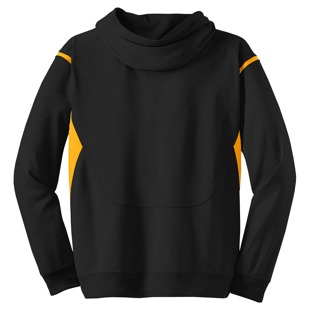 Sport-Tek Men's Black/ Gold Tech Fleece Colorblock Hooded Sweatshirt