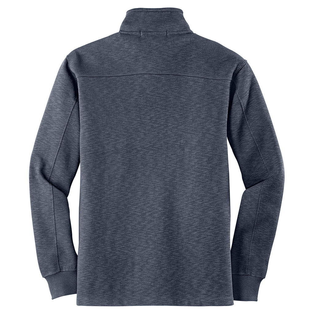 Port Authority Men's Slate Grey 1/4 Zip Slub Fleece Pullover