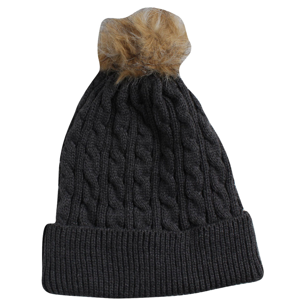 Kate Lord Women s Charcoal Tan Knit Fur Pom Beanie d213eceb765