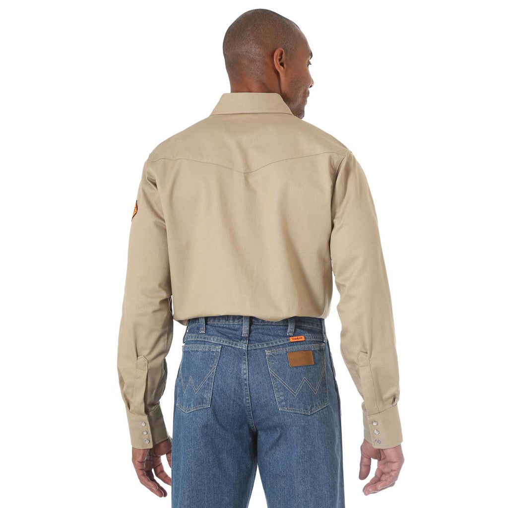Wrangler Men's Khaki Flame Resistant Long Sleeve Western Snap Solid Twill Work Shirt