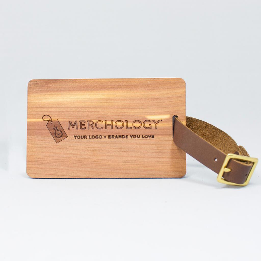 Woodchuck USA Mahogany Wood Luggage Tag