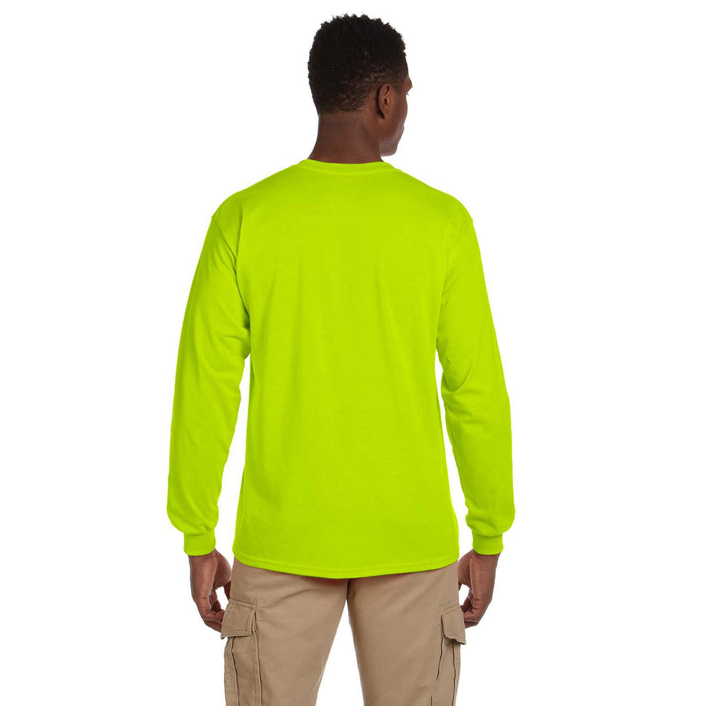 Gildan Men's Safety Green Ultra Cotton 6 oz. Long-Sleeve Pocket T-Shirt