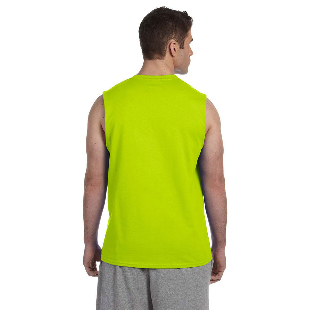 Gildan Men's Safety Green Ultra Cotton 6 oz. Sleeveless T-Shirt