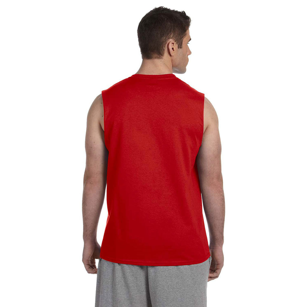Gildan Men's Red Ultra Cotton 6 oz. Sleeveless T-Shirt