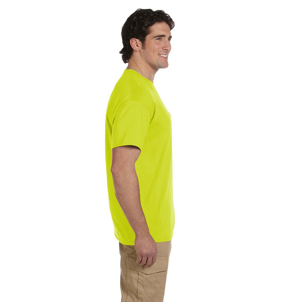 Gildan Men's Safety Green 5.5 oz. 50/50 Pocket T-Shirt