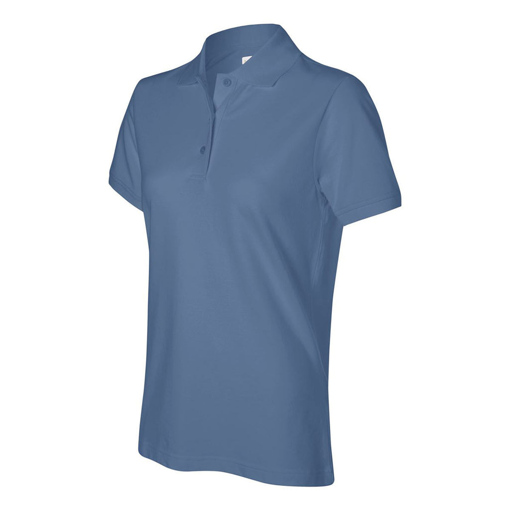 IZOD Women's Ocean Blue Stretch Pique Polo