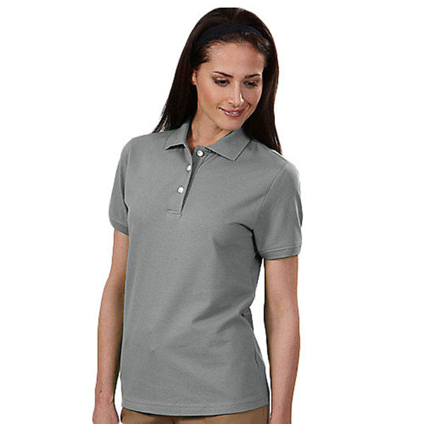 IZOD Women's Silver Mist Stretch Pique Polo