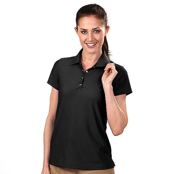 IZOD Women's Black Performance Poly Pique Polo
