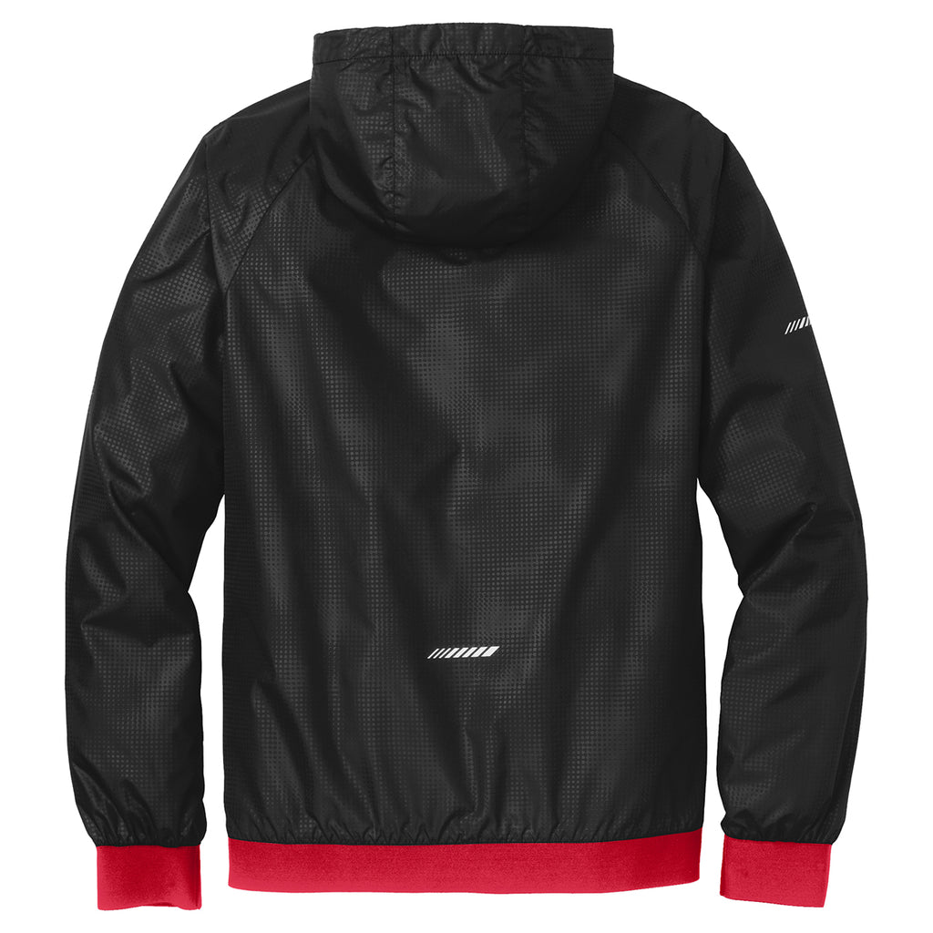 Sport-Tek Men's Black/True Red Embossed Hooded Wind Jacket