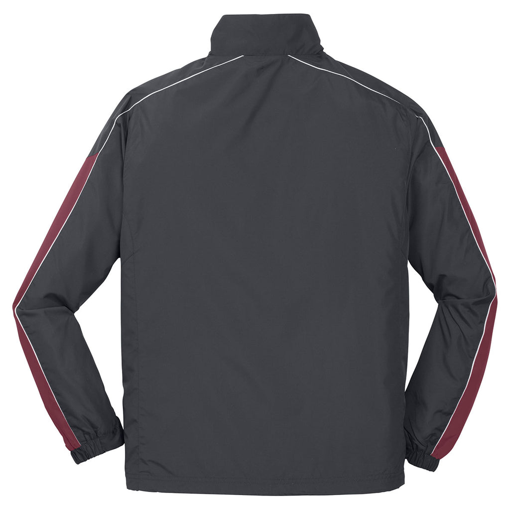 Sport-Tek Men's Graphite Grey/Maroon/White Piped Colorblock Wind Jacket